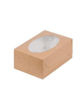 Коробка для капкейков с окном, 6 ячеек, крафт