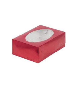 Коробка для капкейков с окном, 6 ячеек, красная