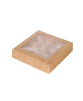 Коробка на 9 конфет с окном, крафт