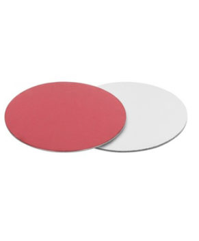 Подложка круглая 28см, красная/серебро, 2,5мм