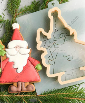 Вырубка+Трафарет Санта с ёлочкой
