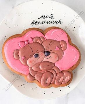Вырубка+Трафарет Влюблённые мишки