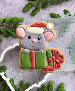 Вырубка+Трафарет Мышка с подарком