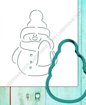 Вырубка+Трафарет Снеговик с шарфиком