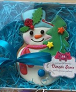 Вырубка Снеговик с ёлкой