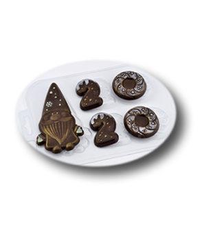 Пластиковая форма для шоколада, Санта 2020