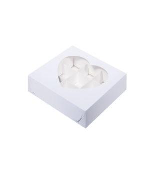 Коробка на 9 конфет с окном сердце, белая