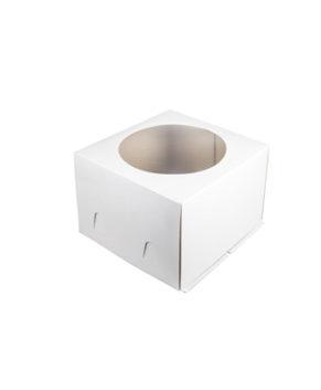 Коробка для торта с окном 26х26х18см Хром-Эрзац