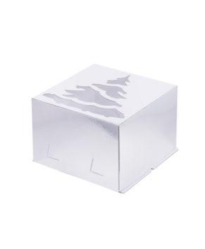 Коробка для торта с окном Ёлка, 30х30х19см, серебро