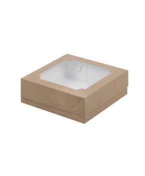 Коробка для зефира и печенья с окошком 20х20х7 см, крафт