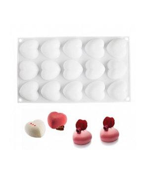 Форма для муссовых десертов Сердечки, 15 ячеек