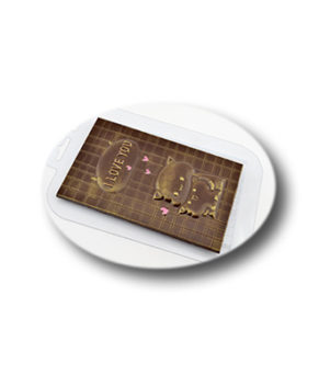 Пластиковая форма для шоколада, Плитка Люблю котятки