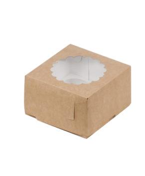 Коробка для капкейков с окном, 4 ячейки, крафт