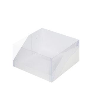 Коробка для торта с прозрачной крышкой, 23,5х23,5х11см белая