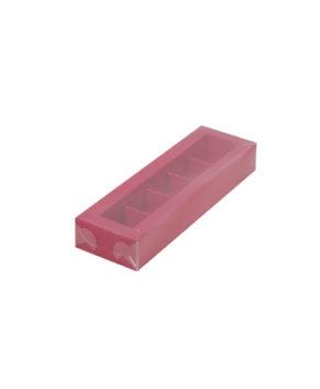 Коробка на 5 конфет с пластиковой крышкой, красная