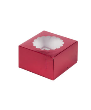 Коробка для капкейков с окном, 4 ячейки, красная