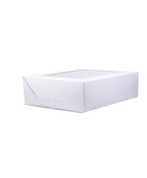 Коробка под торт сборка-конверт с окном 30х40х12см, белая