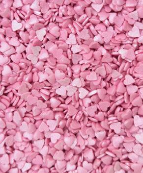 Посыпка кондитерская Сердечки МИНИ розовые перламутровые, 50гр