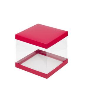 Коробка для торта прозрачная 23х23х22см красная матовая