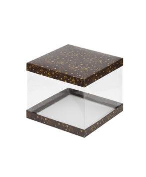 Коробка для торта прозрачная 26х26х28см коричневая со звездами