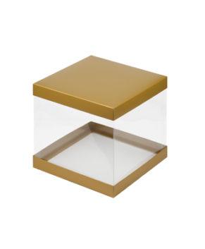 Коробка для торта прозрачная 26х26х28см золото матовая