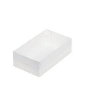 Коробка для зефира и печенья с пластиковой крышкой 25х15х7 см, белая