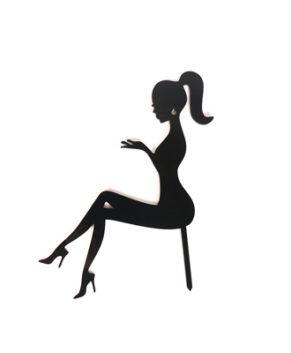 Топпер Силуэт девушки сидя с хвостом, черный