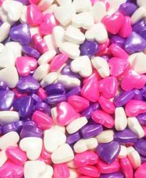 Посыпка кондитерская Сердечки 3D ( розовые, фиолетовые, белые), 40гр