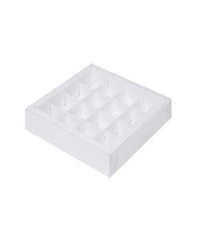 Коробка на 16 конфет с пластиковой крышкой, белая
