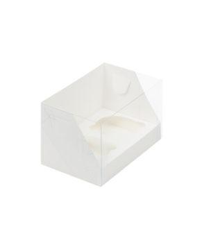 Коробка для капкейков с пластиковой крышкой, 2 ячейки, белая