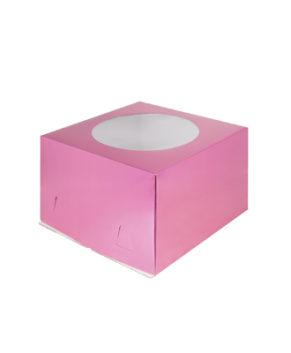 Коробка для торта с окном, 30х30х19см, фуксия