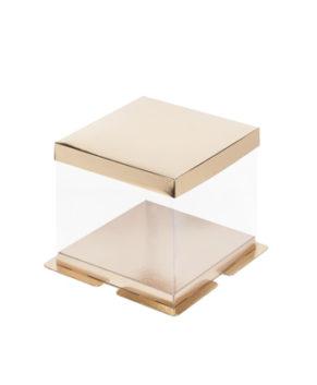 Коробка для торта прозрачная с пъедесталом 23,5х23,5х22см золото