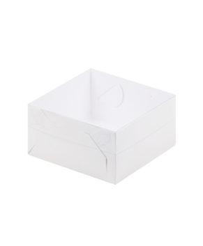 Коробка для зефира и печенья с пластиковой крышкой 20х20х7 см, белая