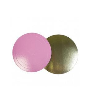 Подложка круглая 28см, розовая/золото, 3,5мм