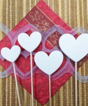 Молд силиконовый Сердечки разные без дна-Топпер, 8ячеек