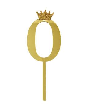 Топпер Цифра 0 с короной, золото