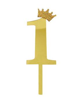 Топпер Цифра 1 с короной, золото