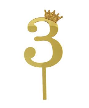 Топпер Цифра 3 с короной, золото