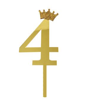 Топпер Цифра 4 с короной, золото