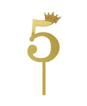 Топпер Цифра 5 с короной, золото