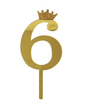 Топпер Цифра 6 с короной, золото