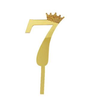 Топпер Цифра 7 с короной, золото