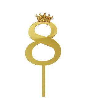 Топпер Цифра 8 с короной, золото