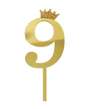 Топпер Цифра 9 с короной, золото