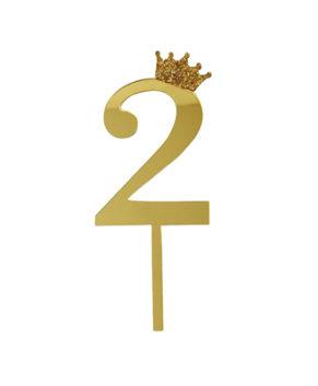 Топпер Цифра 2 с короной, золото
