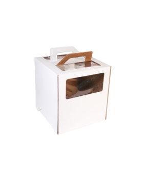 Коробка для торта с окном и ручкой, 26х26х28см, белая