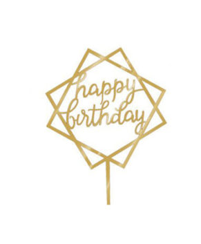 Топпер Happy Birthday, золотой (Квадрат)