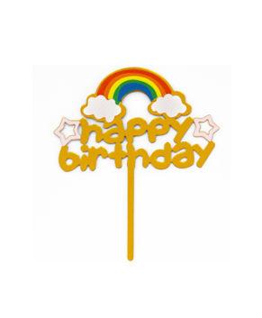 Топпер Happy Birthday с радугой, золотой