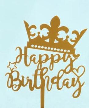 Топпер Happy Birthday с короной, золотой
