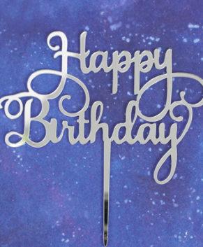 Топпер Happy Birthday серебро